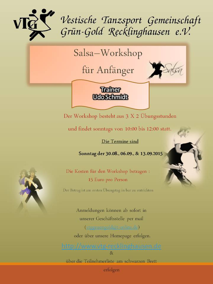 Salsa Workshop für anfänger August - September 2015